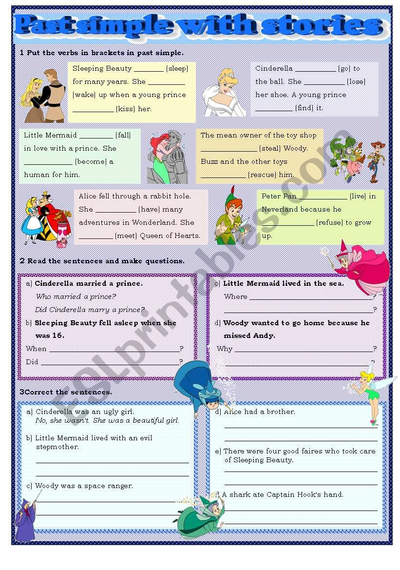 Past simple with stories worksheet