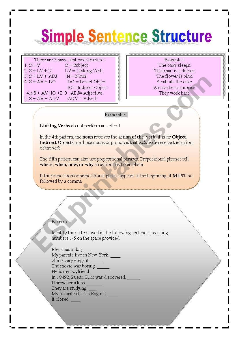 basic sentence structure esl worksheet by mcolon. Black Bedroom Furniture Sets. Home Design Ideas