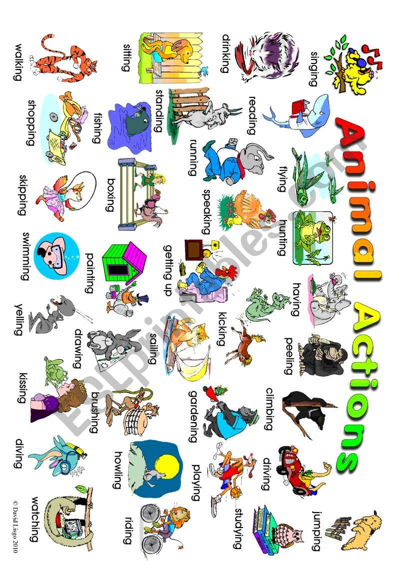 Animal Actions: classroom poster 1