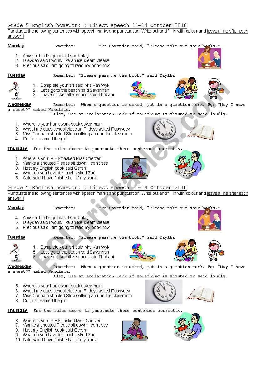 Punctuating Direct Speech Esl Worksheet By Kellycoetzer