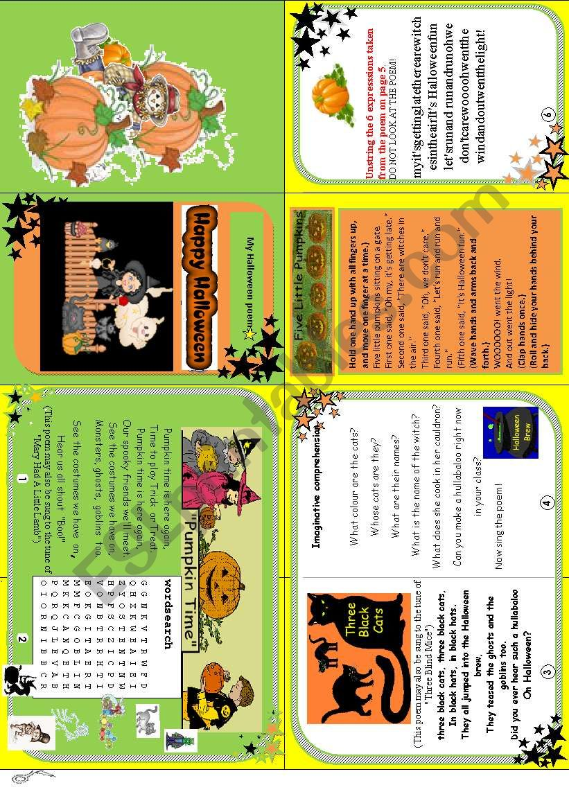 Happy Halloween minibook ( 3 fun poems + activities)