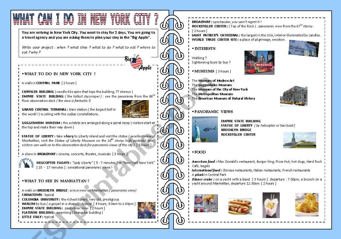 What can I do in New York city ?? ( 2 pages )