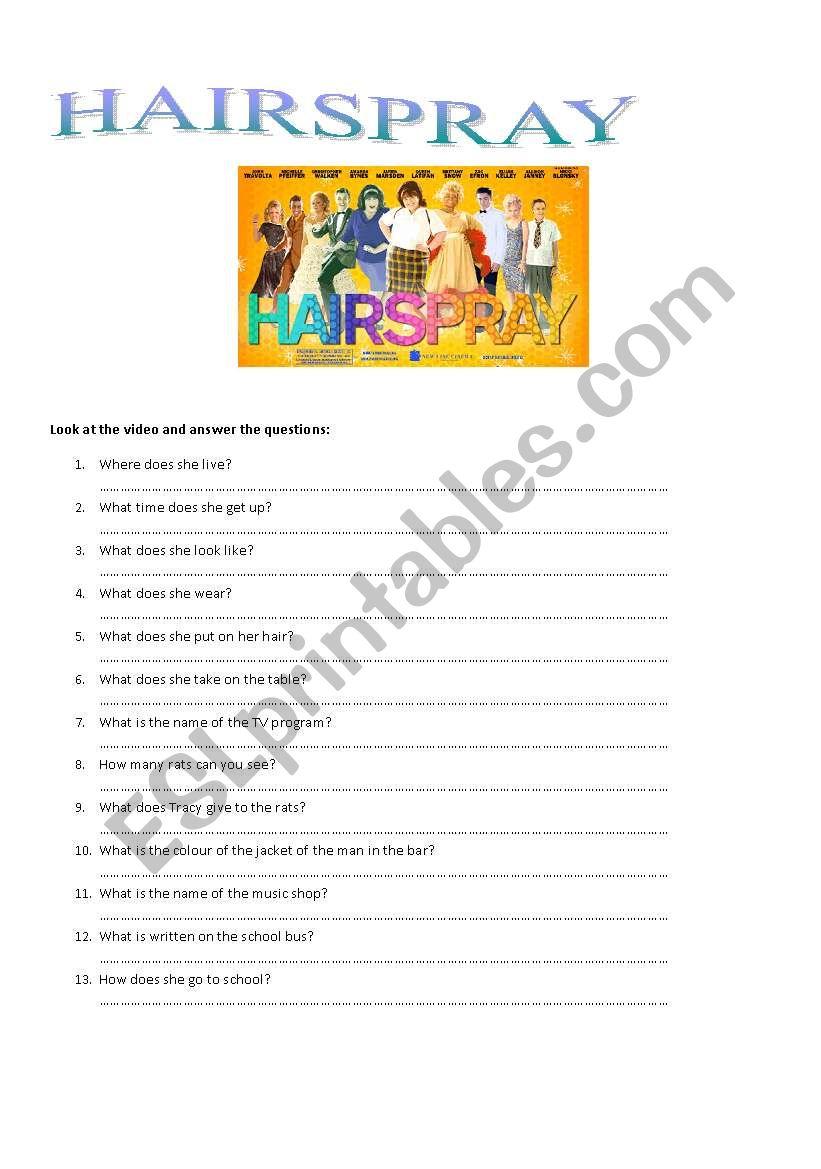Hairspray 2 worksheet