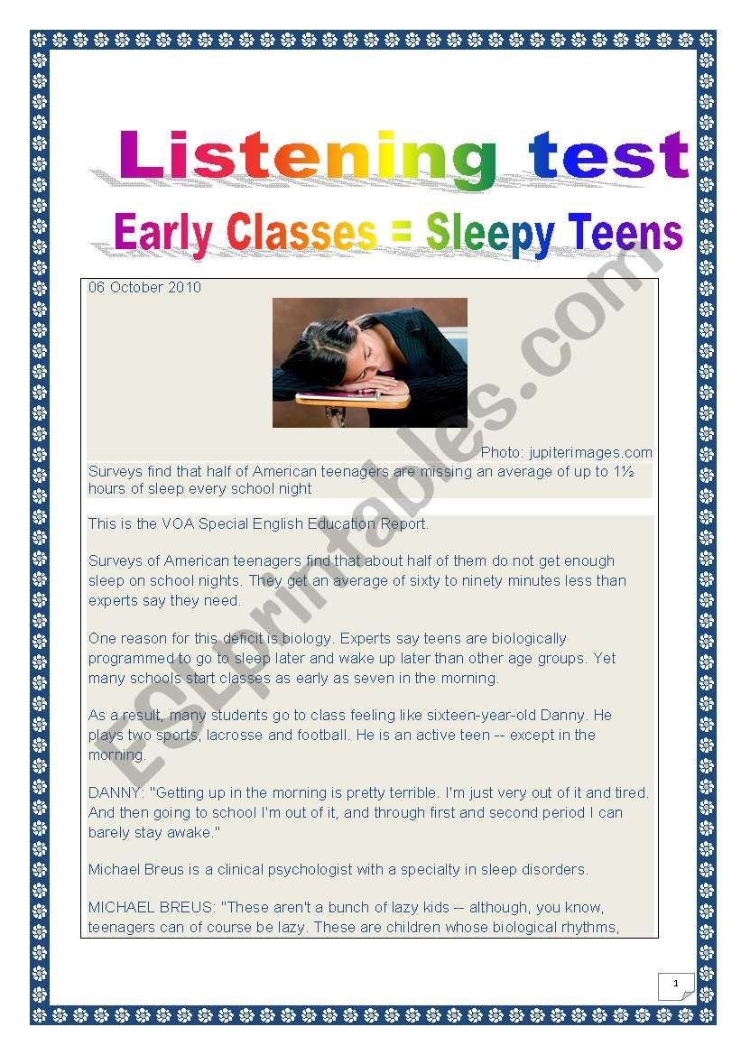 COMPREHENSIVE LISTENING PROJECT - SLEEPY TEENS (13 tasks, 10 pages, includes comprehensive ANSWER KEY)