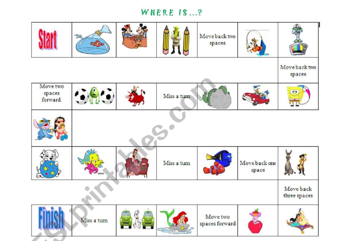 Prepositions of Place game + Crossword