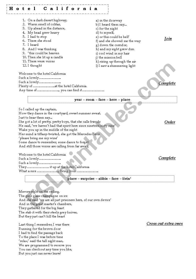 Hotel California worksheet