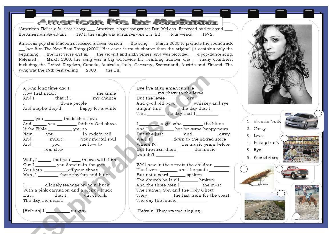 American Pie by Madonna worksheet