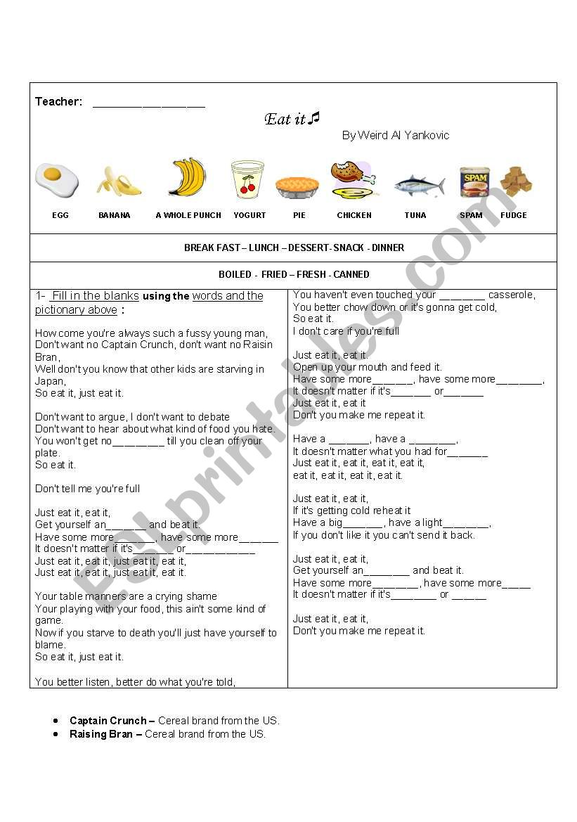 EAT IT - song about food worksheet