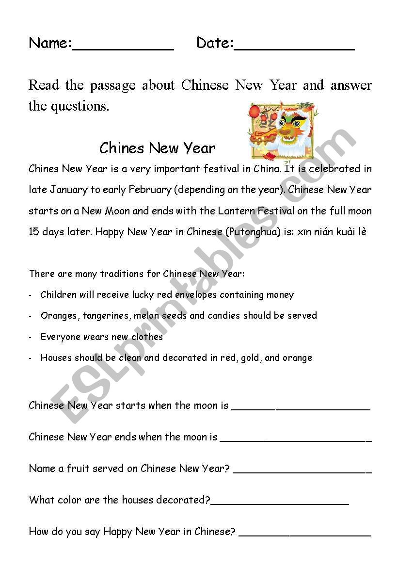 chinese new year comprehension esl worksheet by bleue77. Black Bedroom Furniture Sets. Home Design Ideas