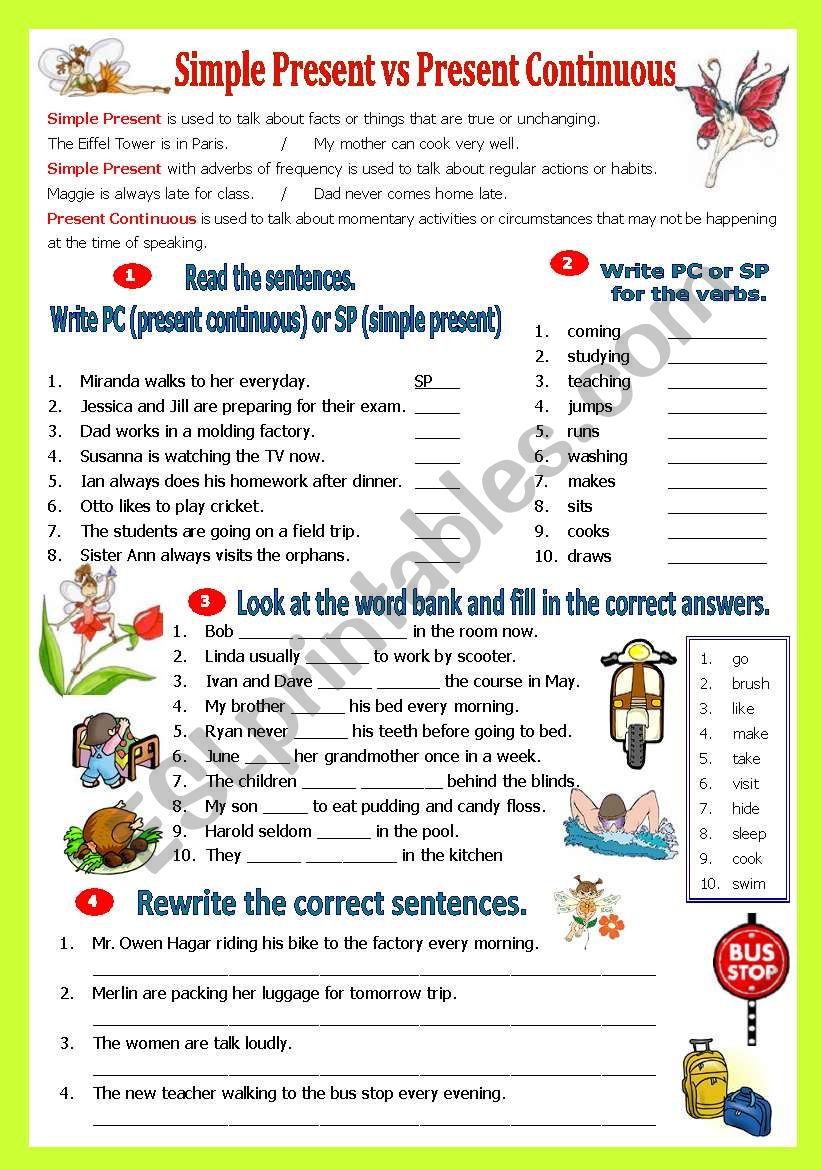 Simple Present vs Present Continuous Tense