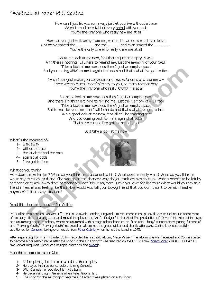 Phil Collins - Against all odds lyrics