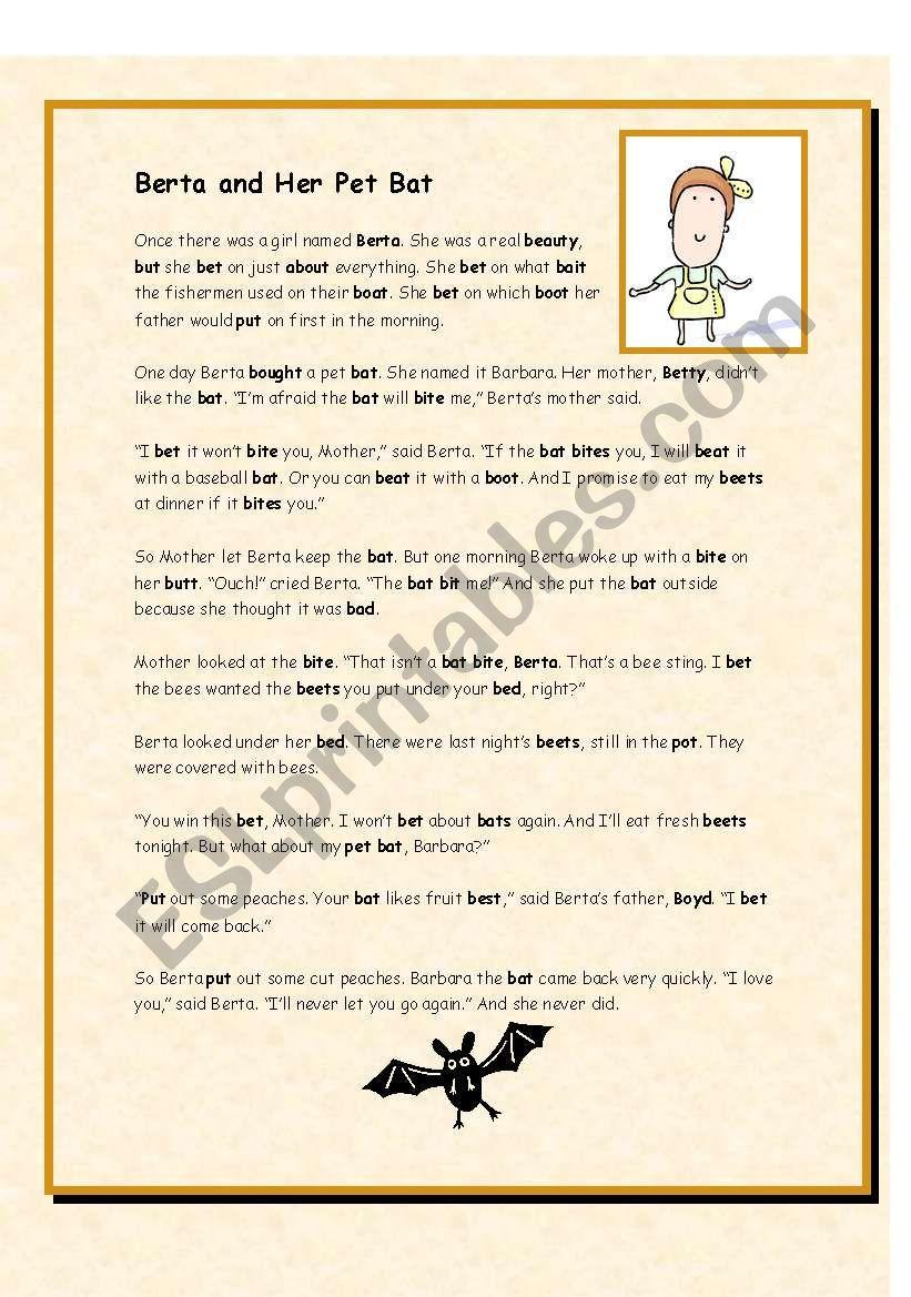 Berta and Her Pet Bat worksheet