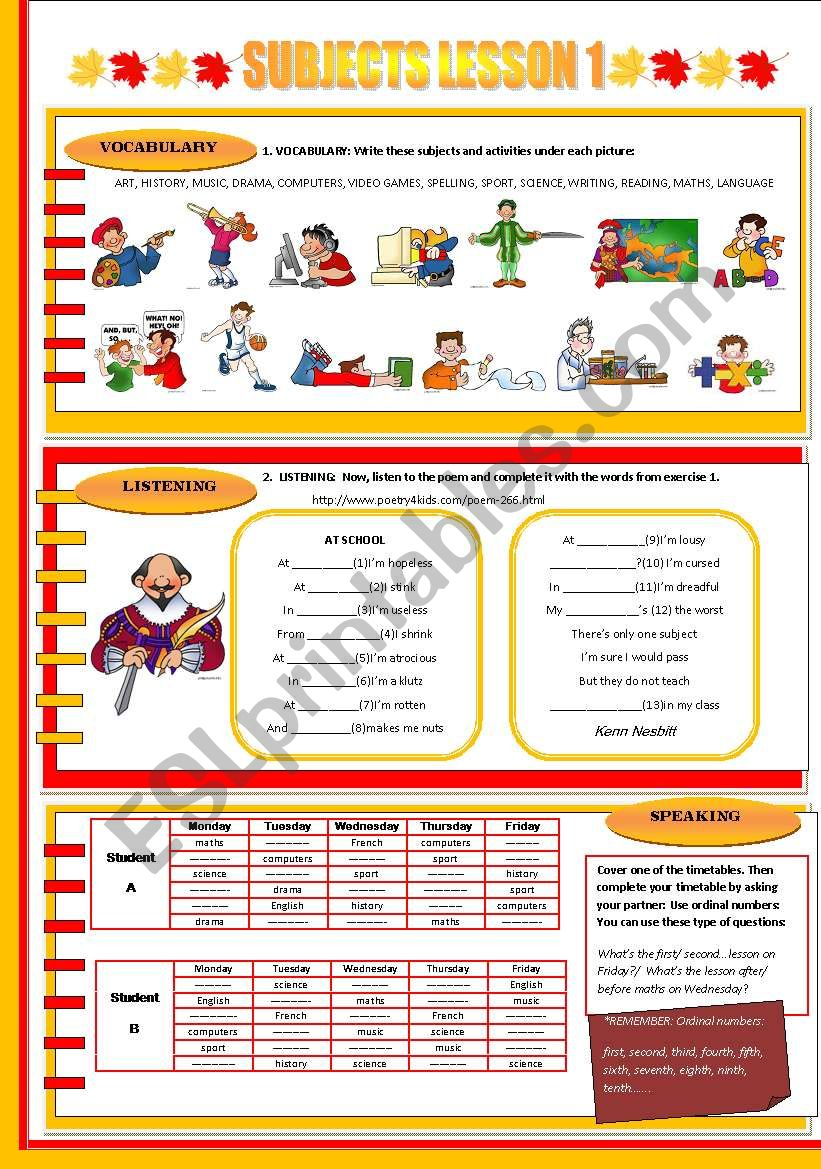 SUBJECTS LESSON 1 worksheet