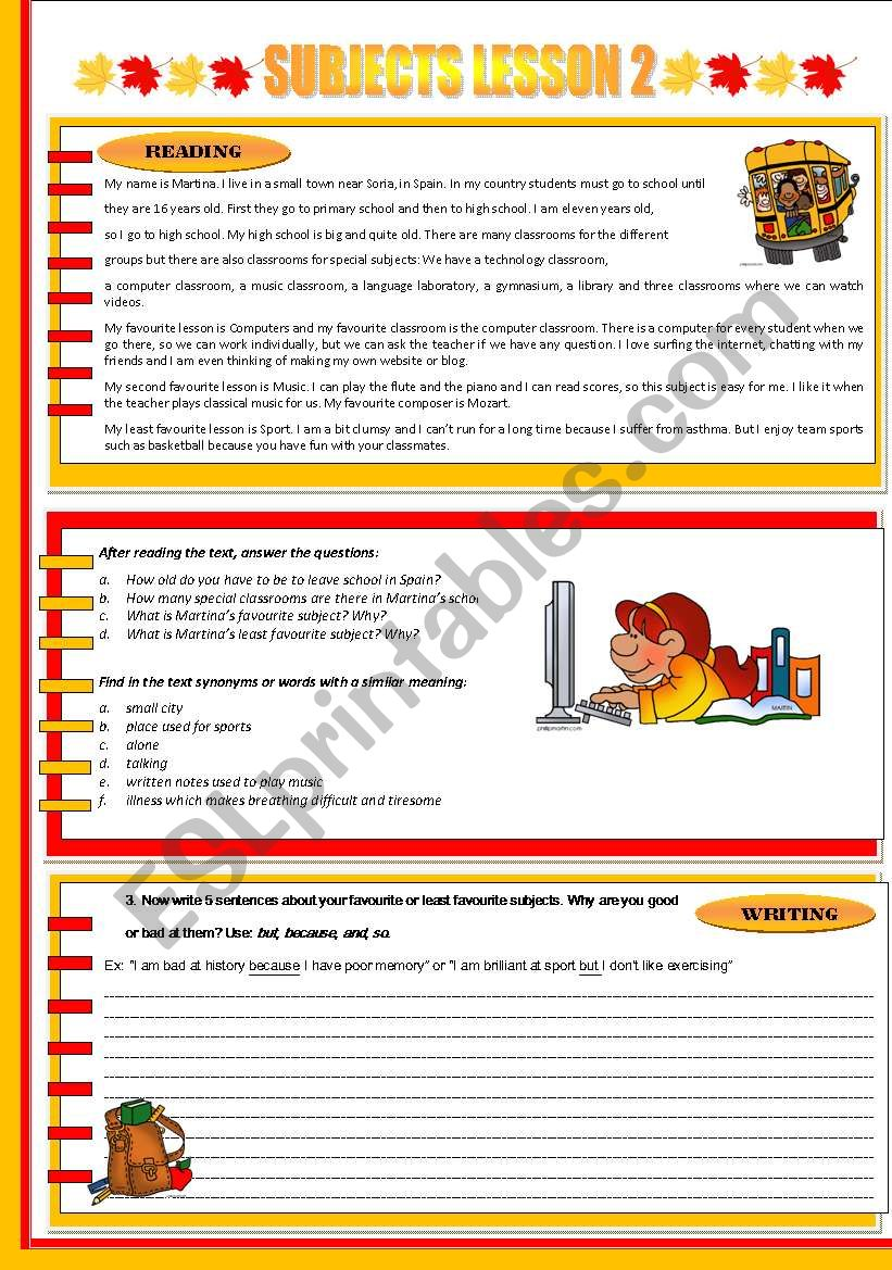 SUBJECTS LESSON 2 worksheet
