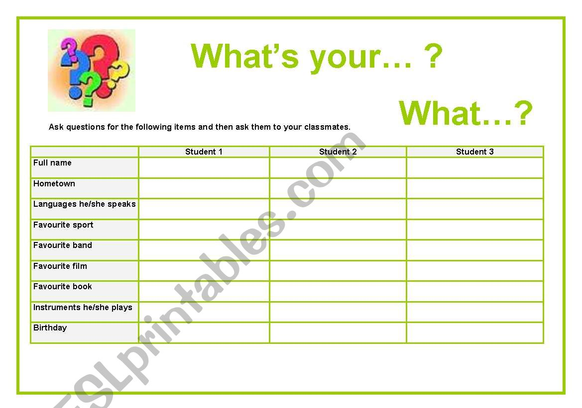 What´s...? What...? worksheet