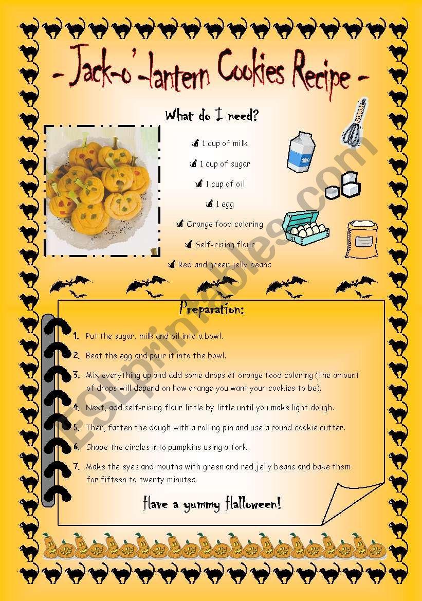 Jack-o´-lantern cookies recipe
