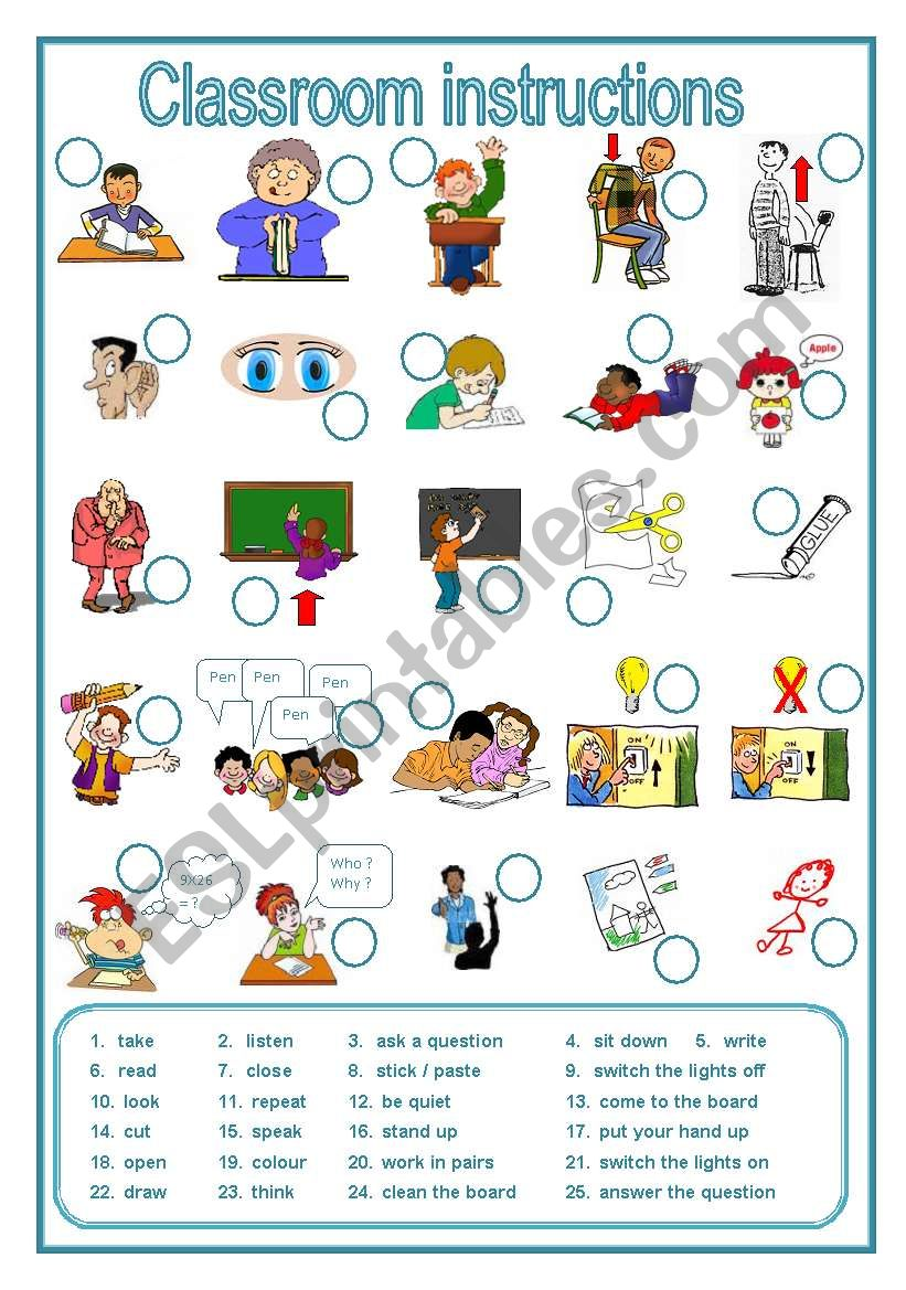 Classroom instructions, a labelling worksheet (editable)