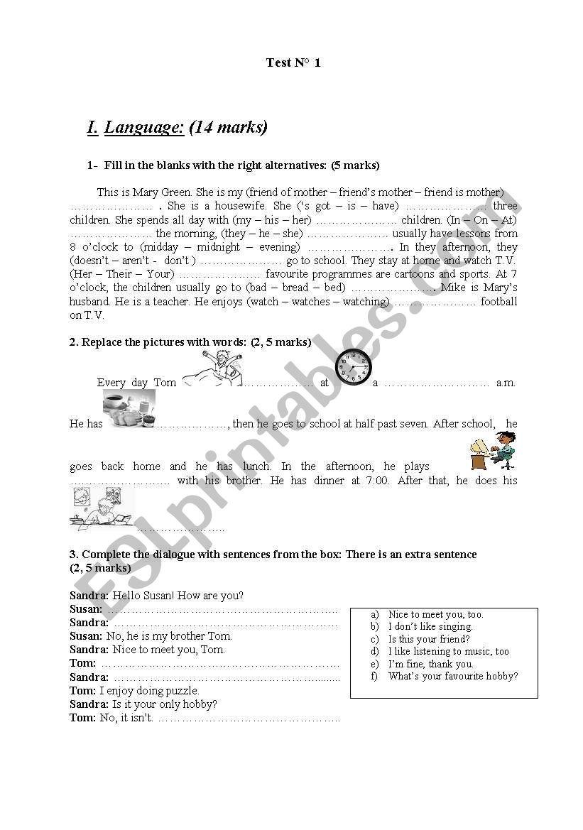 Test n°1 worksheet