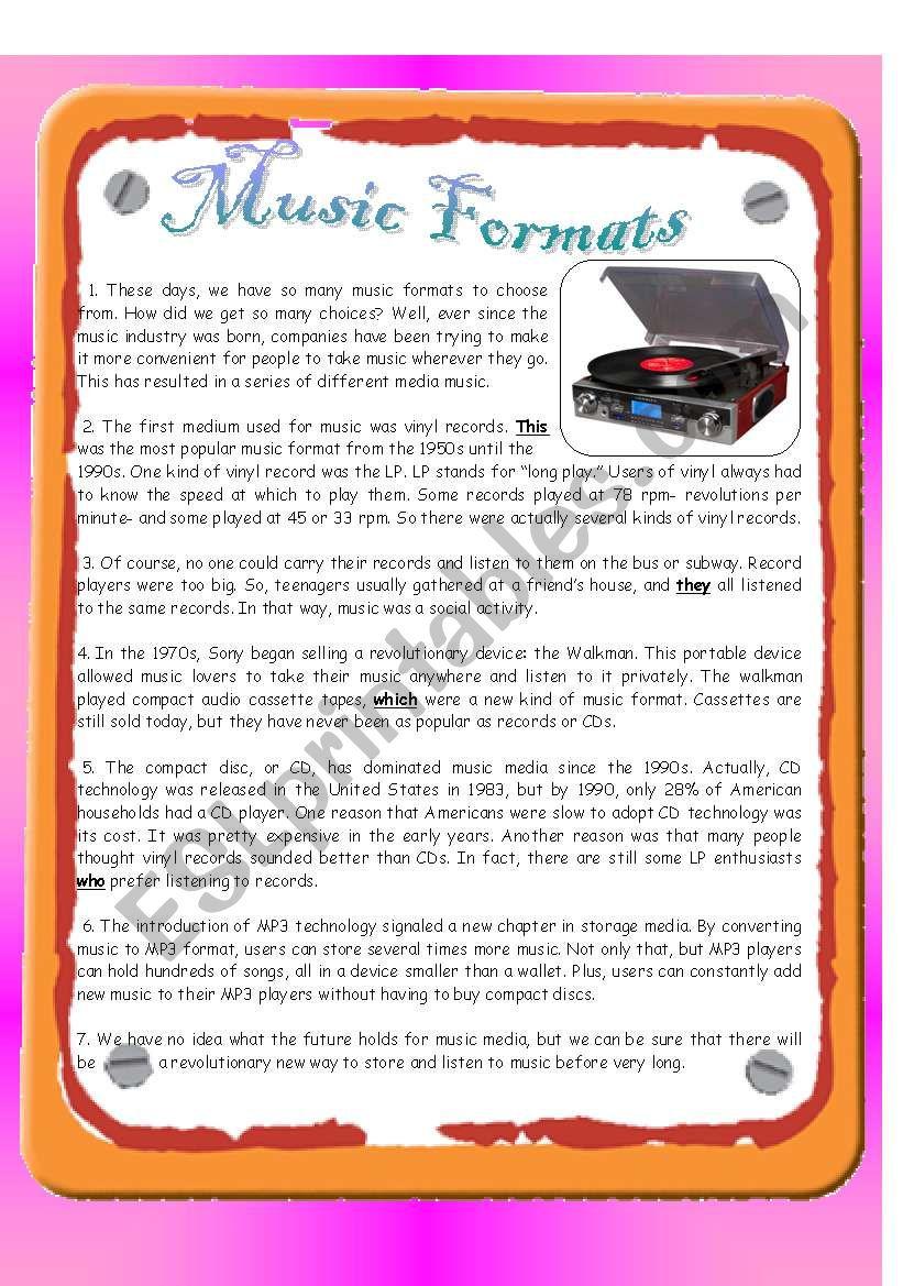 Reading - Music Formats - ESL worksheet by emulator