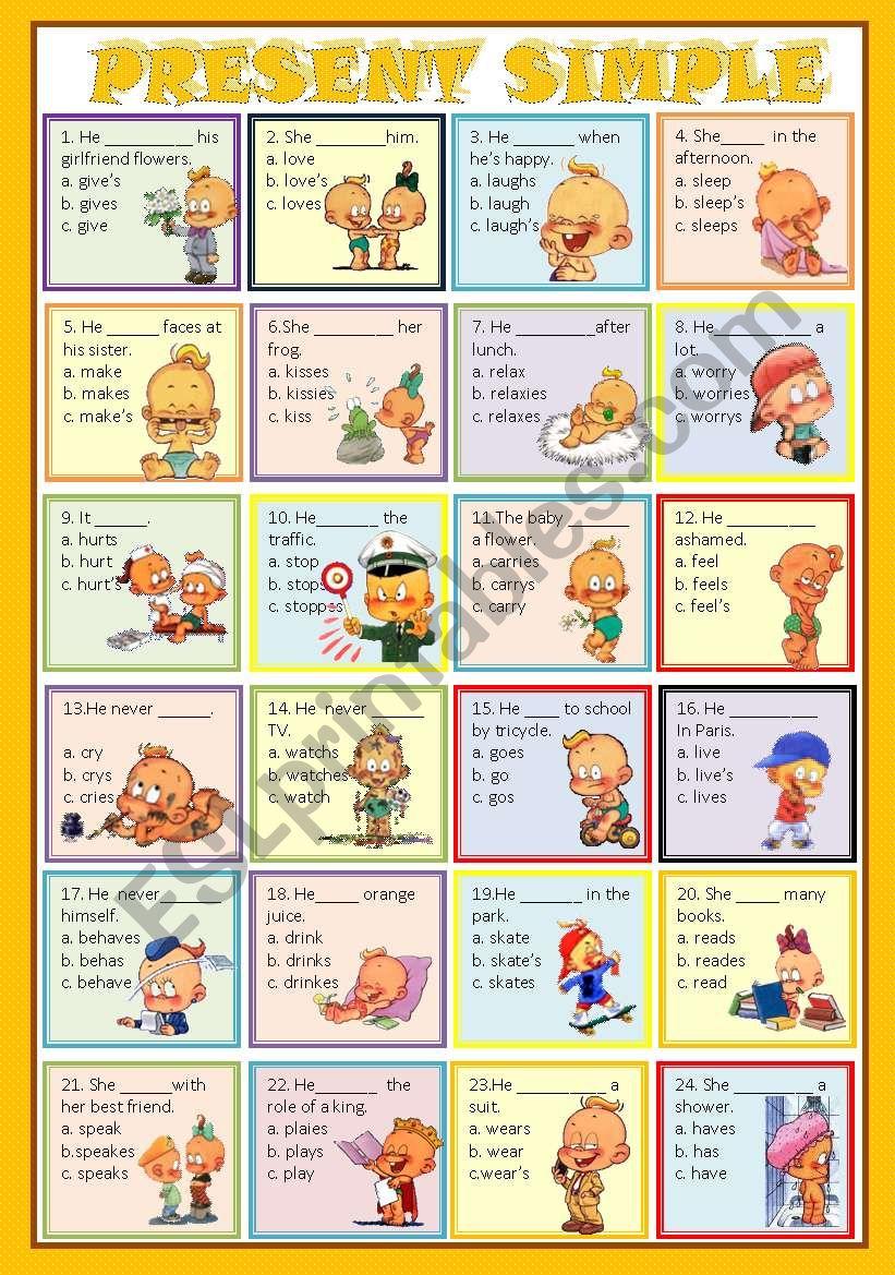 Present Simple 3rd Person Singular Quiz Esl Worksheet By Princesss