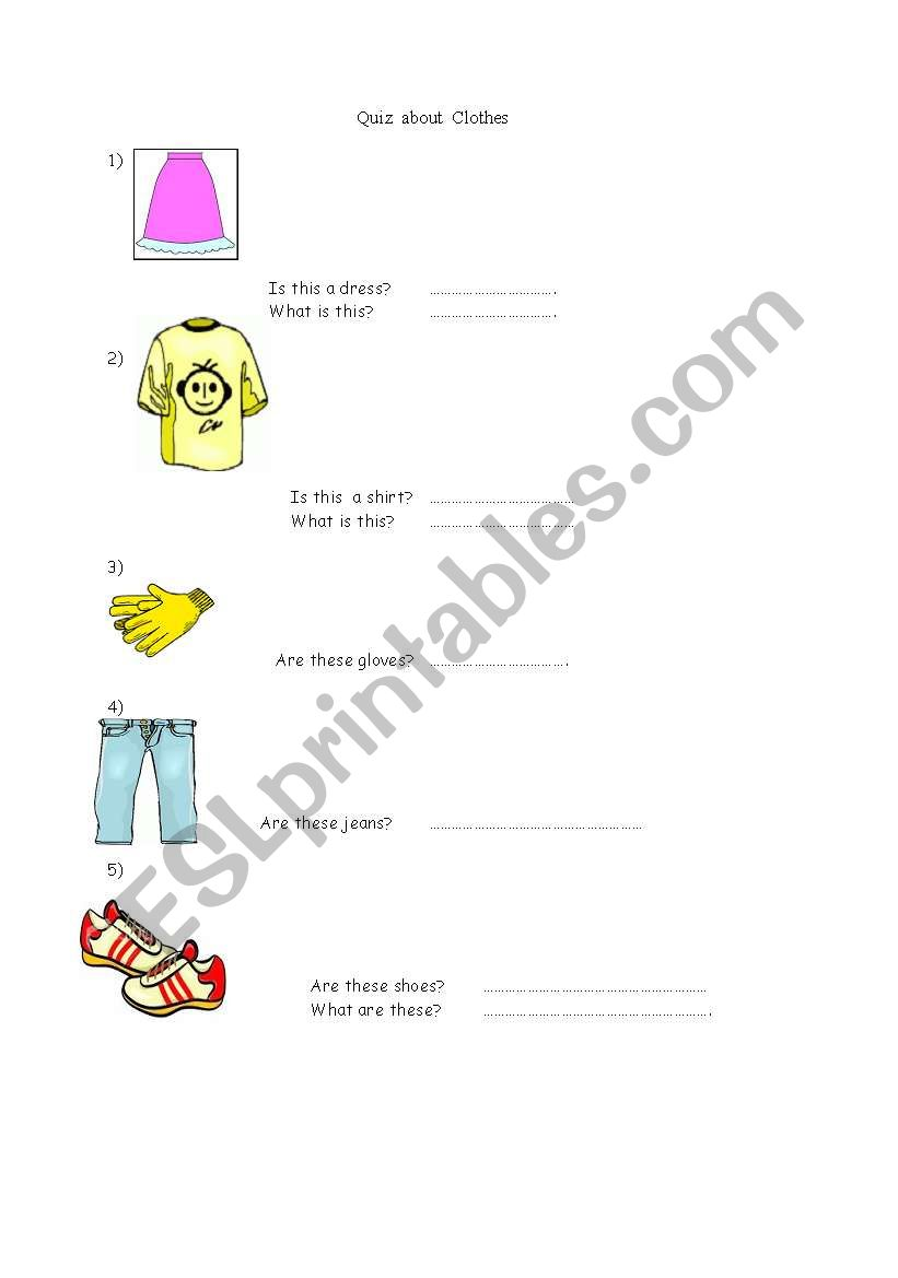 Clothes Shop worksheet