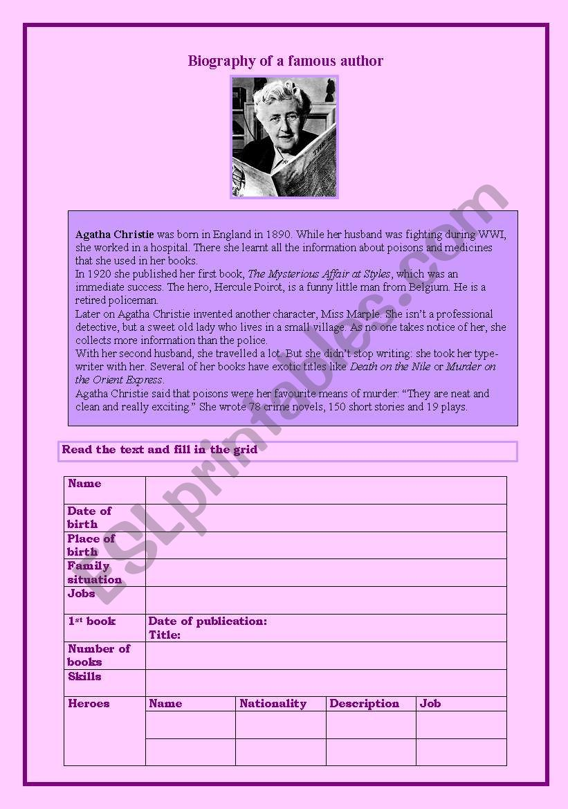 Agatha Christie´s biography worksheet