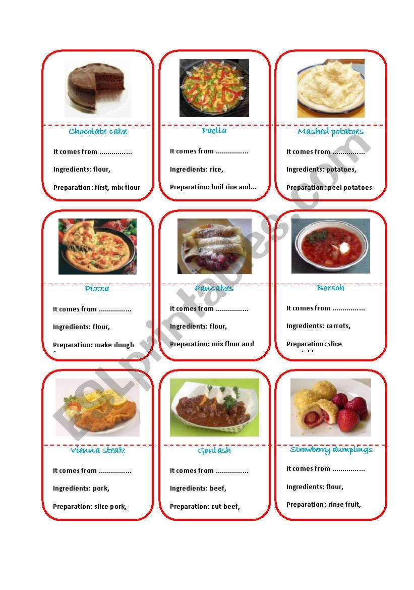 Recipes cards worksheet