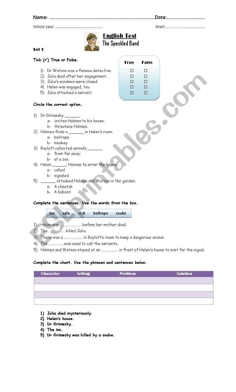 The Speckled Band - Test worksheet
