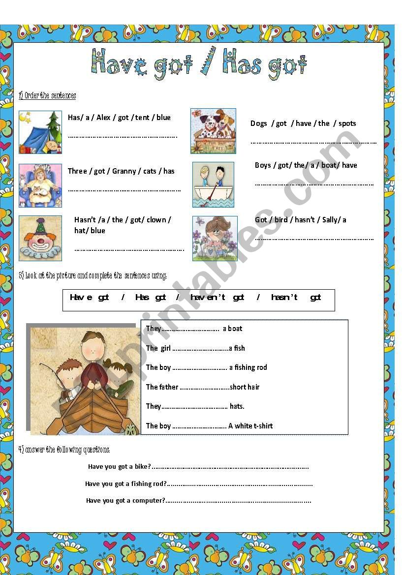 What have they got? worksheet