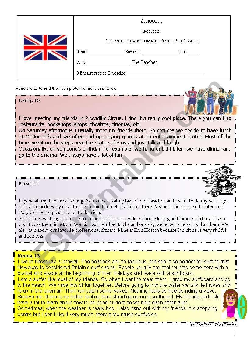 Assessment Test on Hobbies worksheet