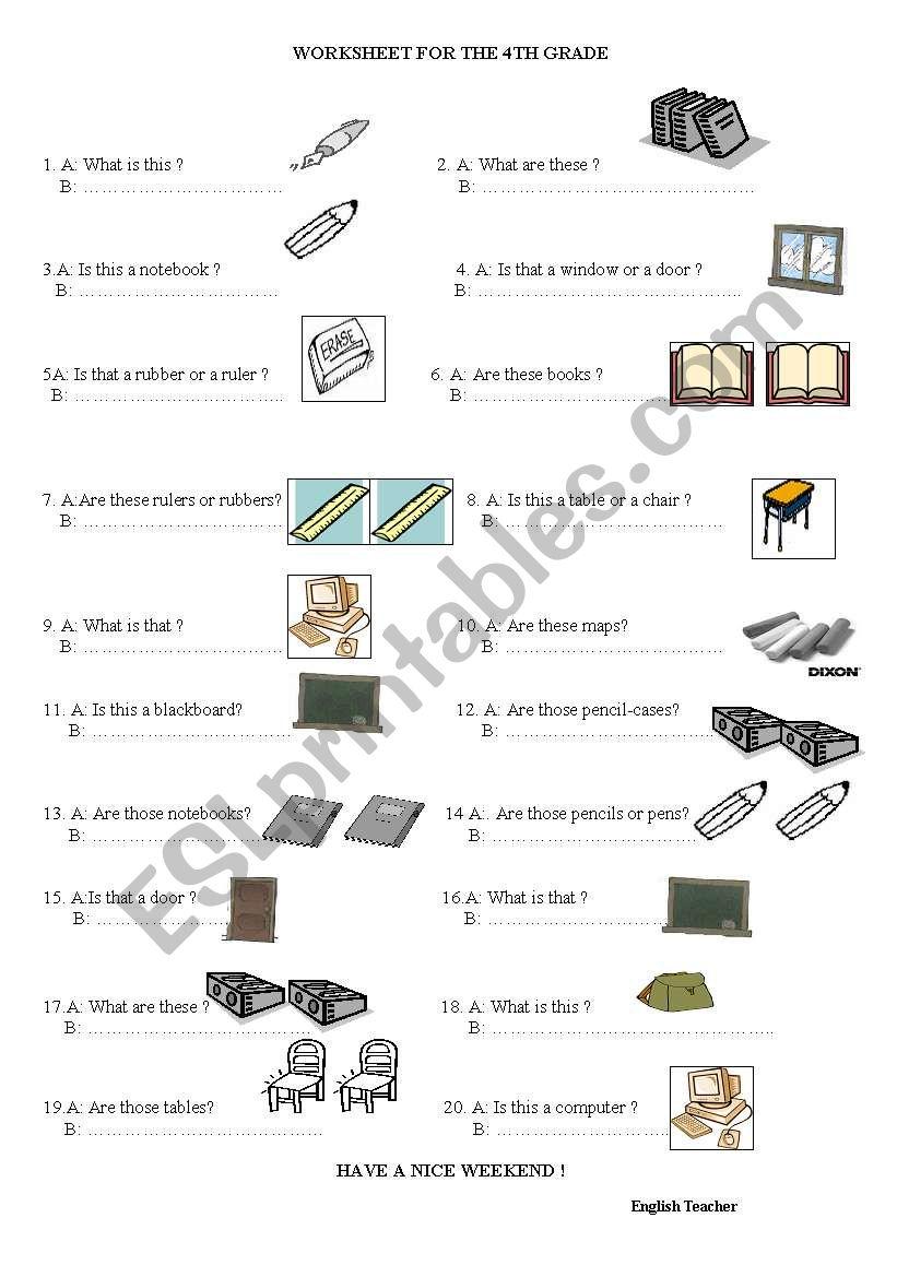 classroom language worksheet