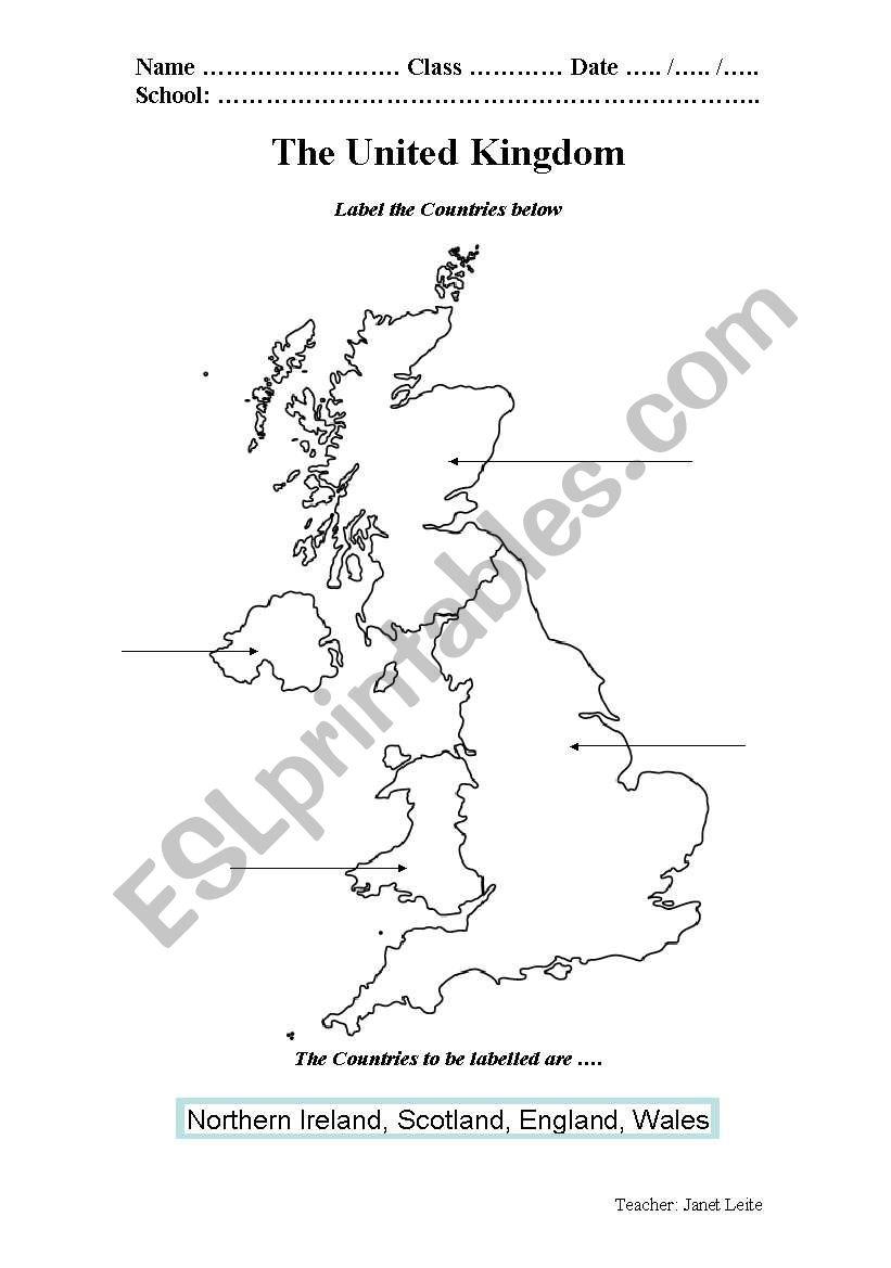 English worksheets: United Kingdom Map Worksheet