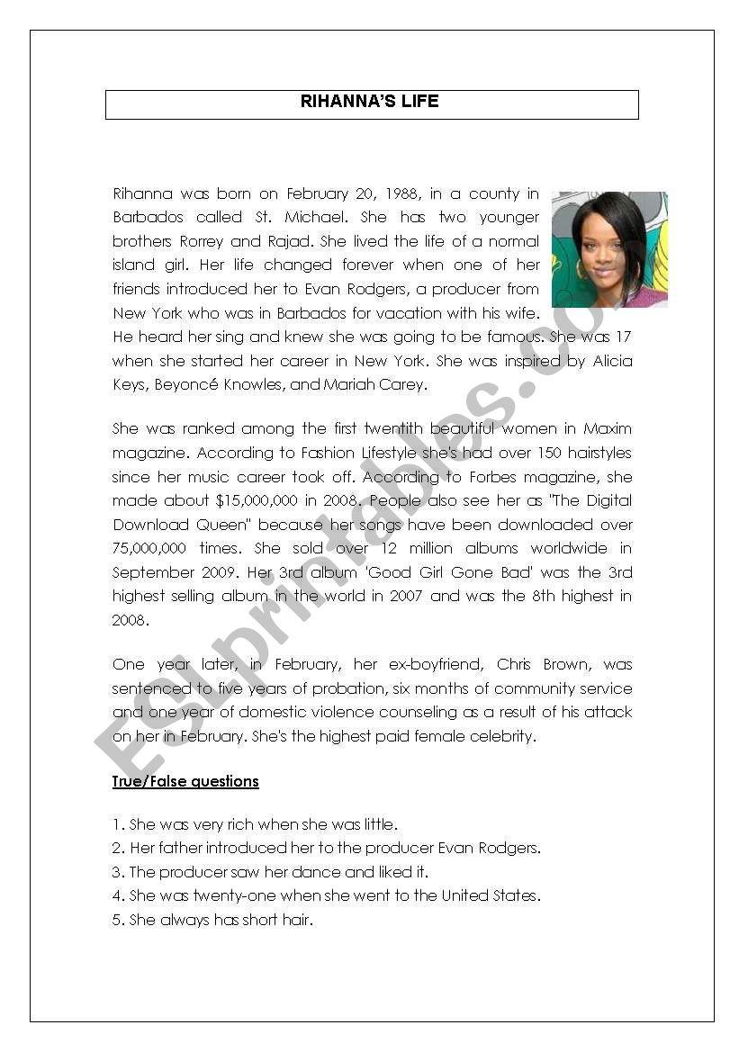 reading comprehension - rihanna biography