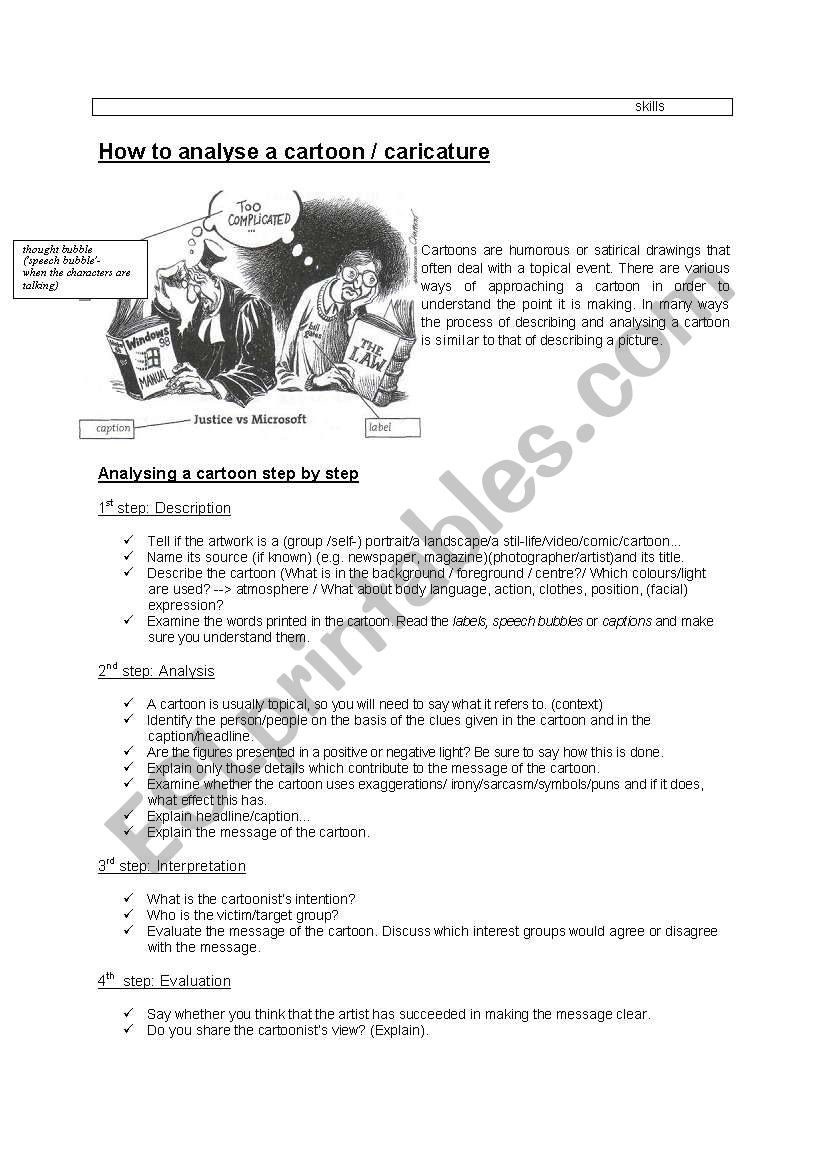 Cartoon Picture Analysis Advanced Vocabulary Useful Phrases