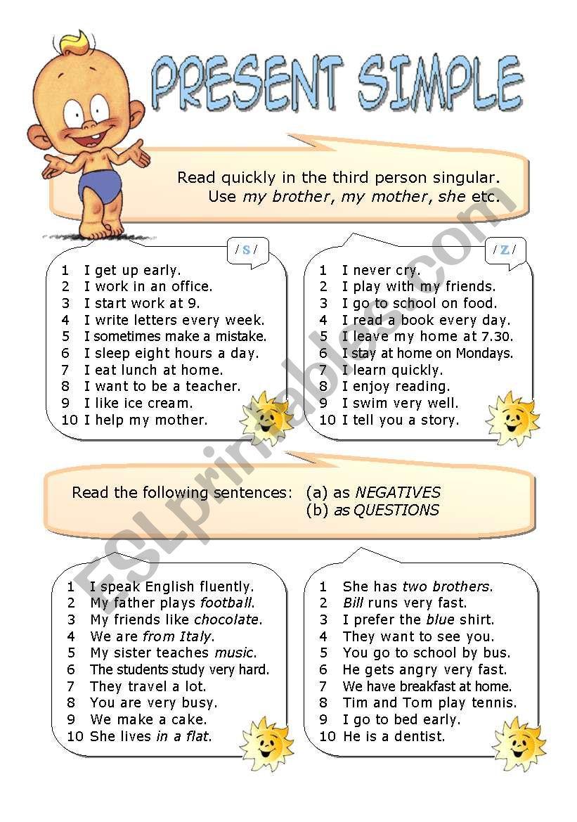 Present Simple Tense Esl Worksheet By Alenka