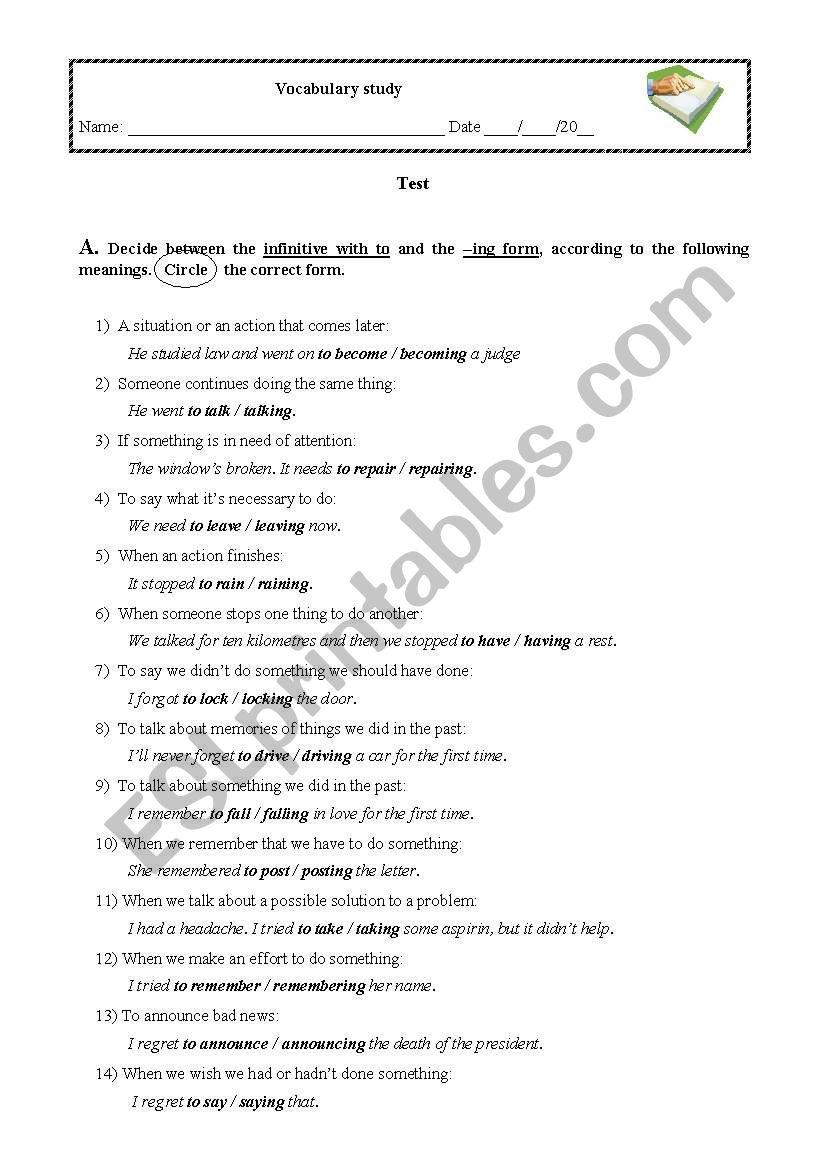 Infinitive or -ing form? worksheet
