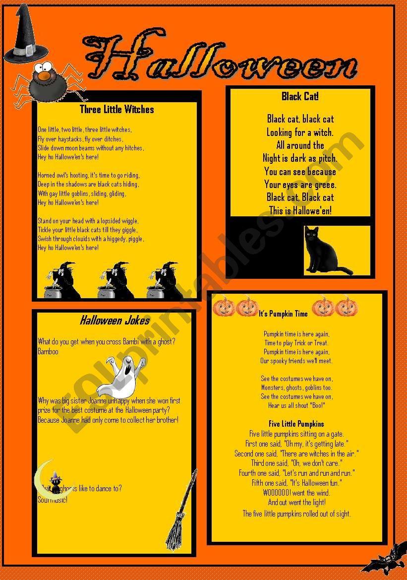 halloween poems and jokes - esl worksheetlbhspatriot
