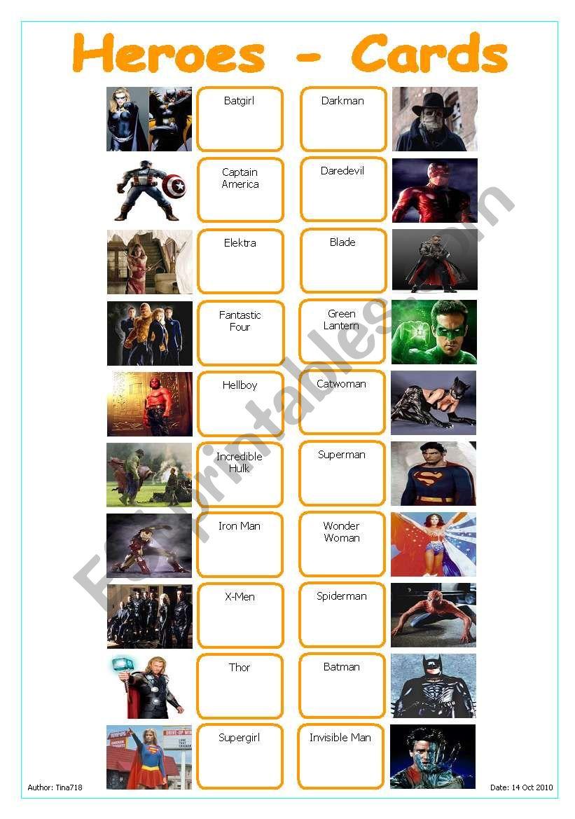 Heroes - Cards worksheet