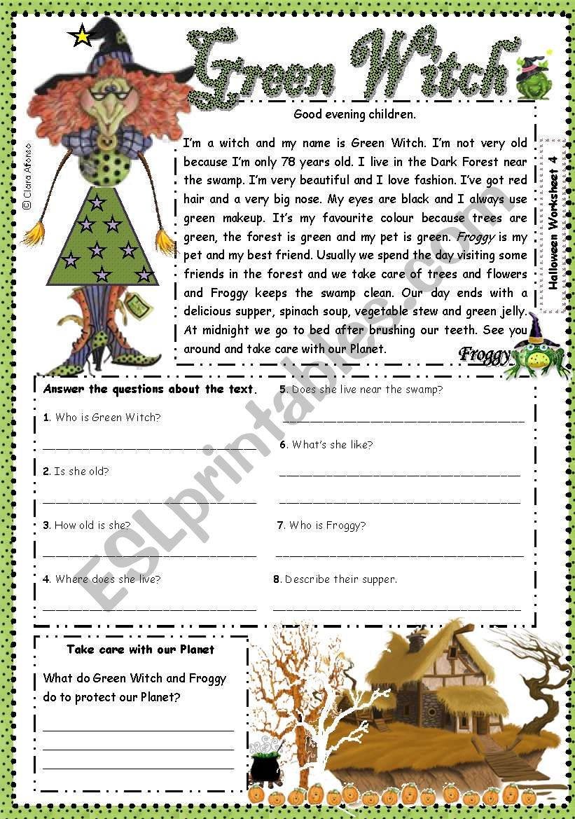 Green Witch  worksheet
