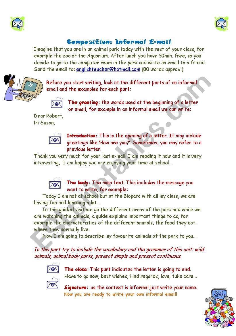 Writing An Informal Email Esl Worksheet By Blanmuse