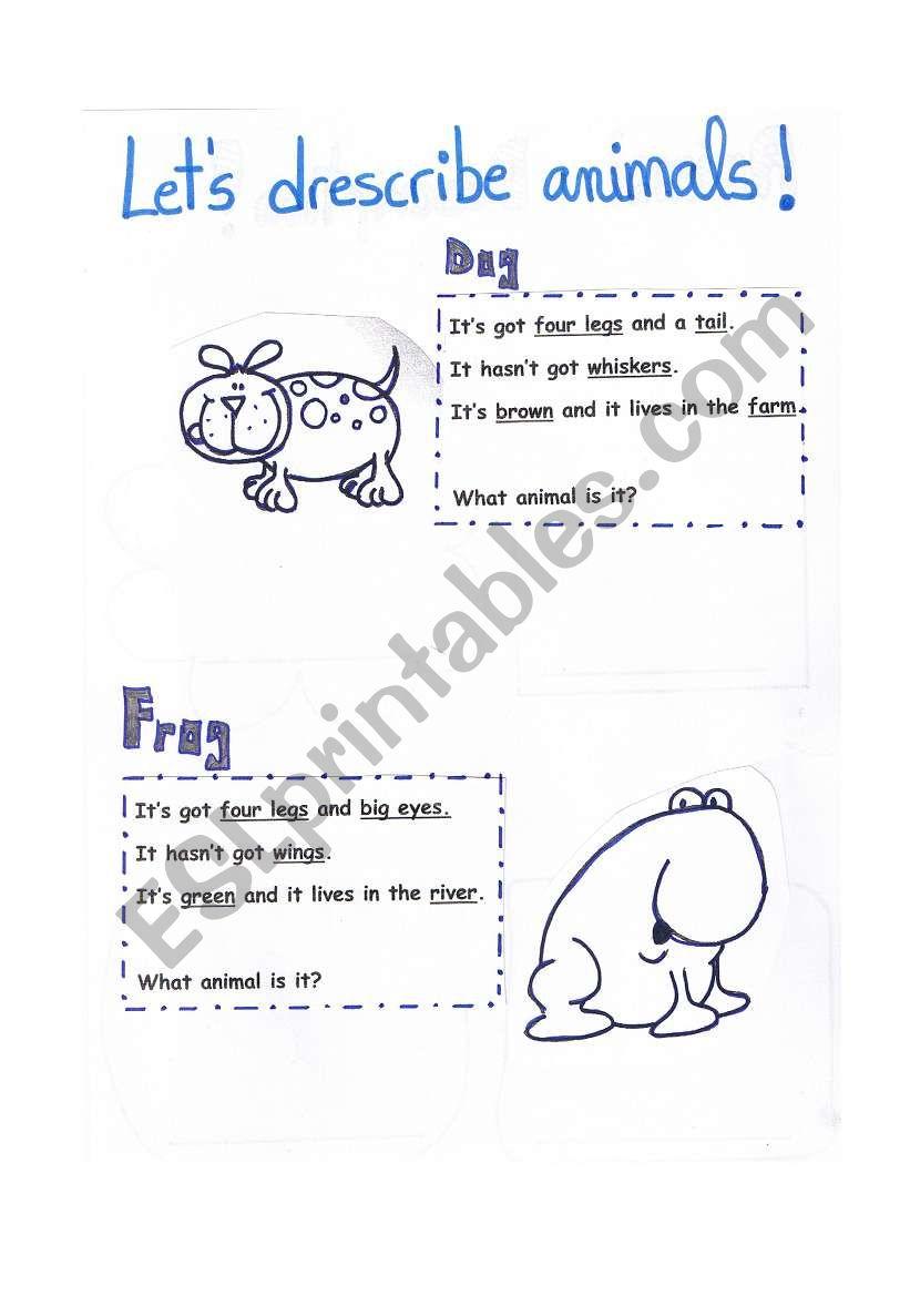 describing animals 1 worksheet