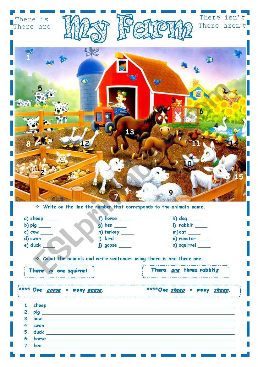 MY FARM ~ 2 pages ~ worksheet