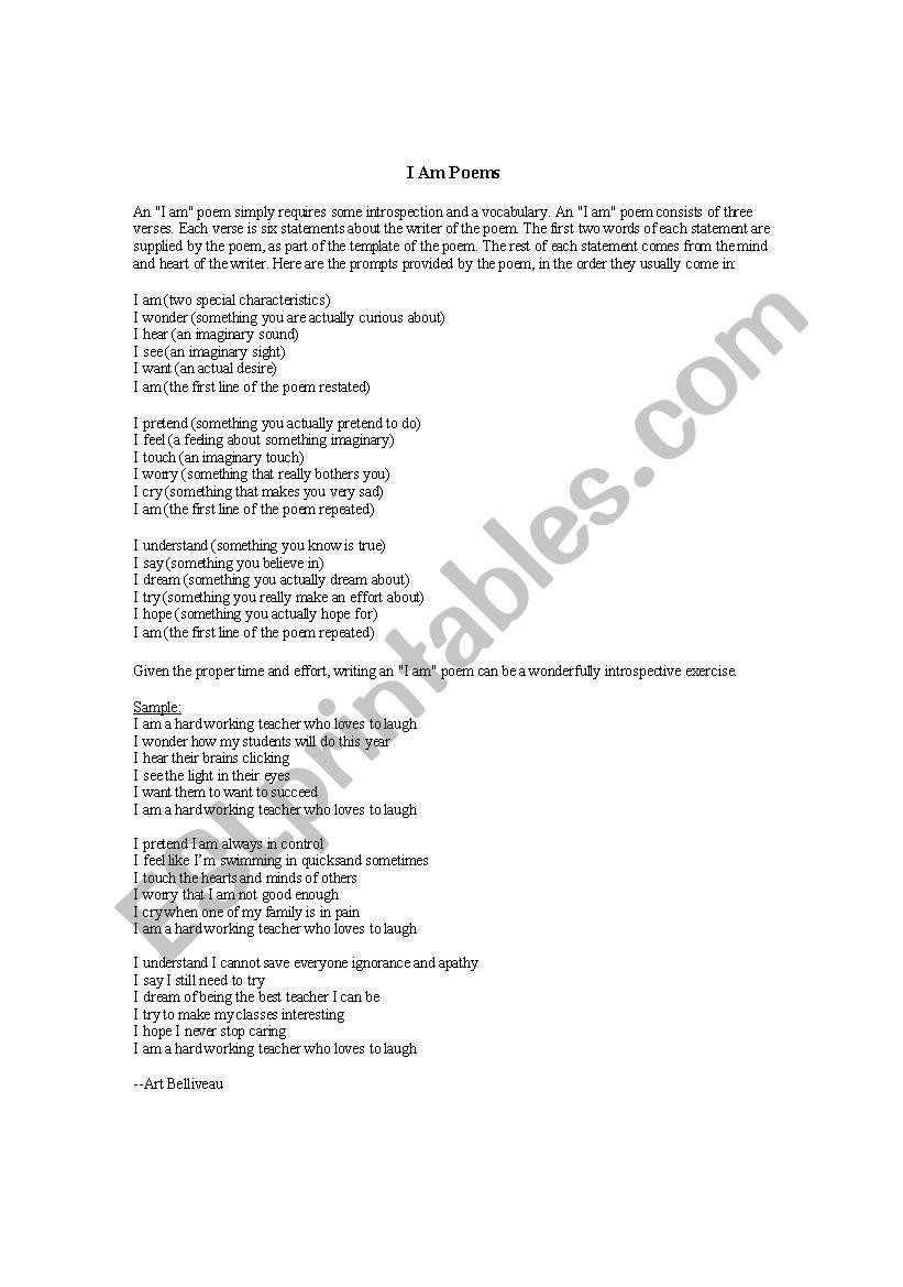 I AM POEMS   ESL worksheet by bigredklein