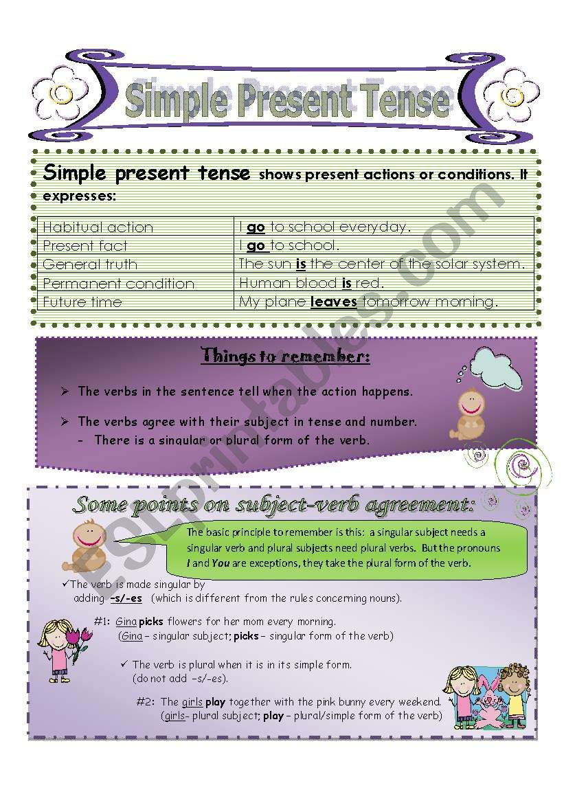 Simple Present Tense With Subject Verb Agreement Esl Worksheet By