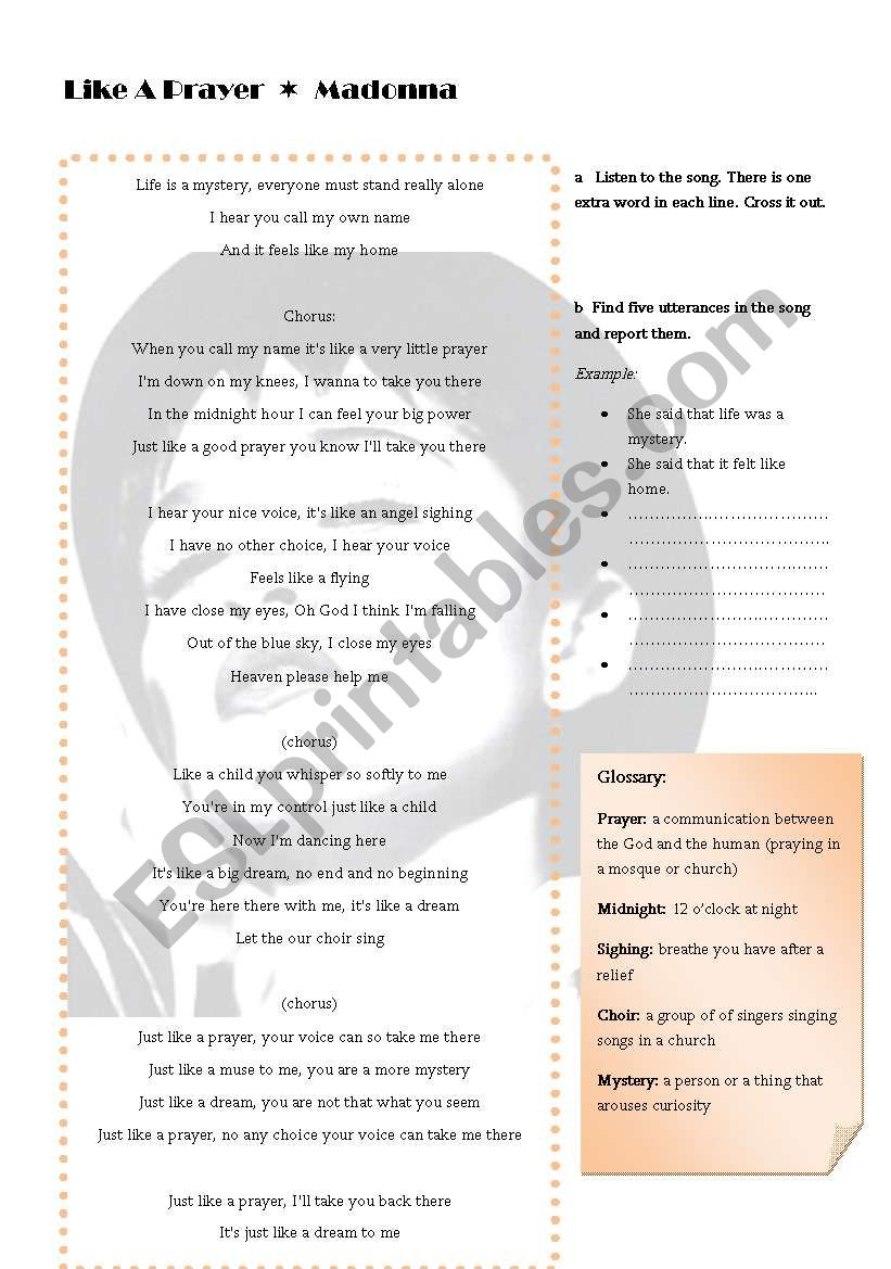 Reported speech song activity - ESL worksheet by CherryLove