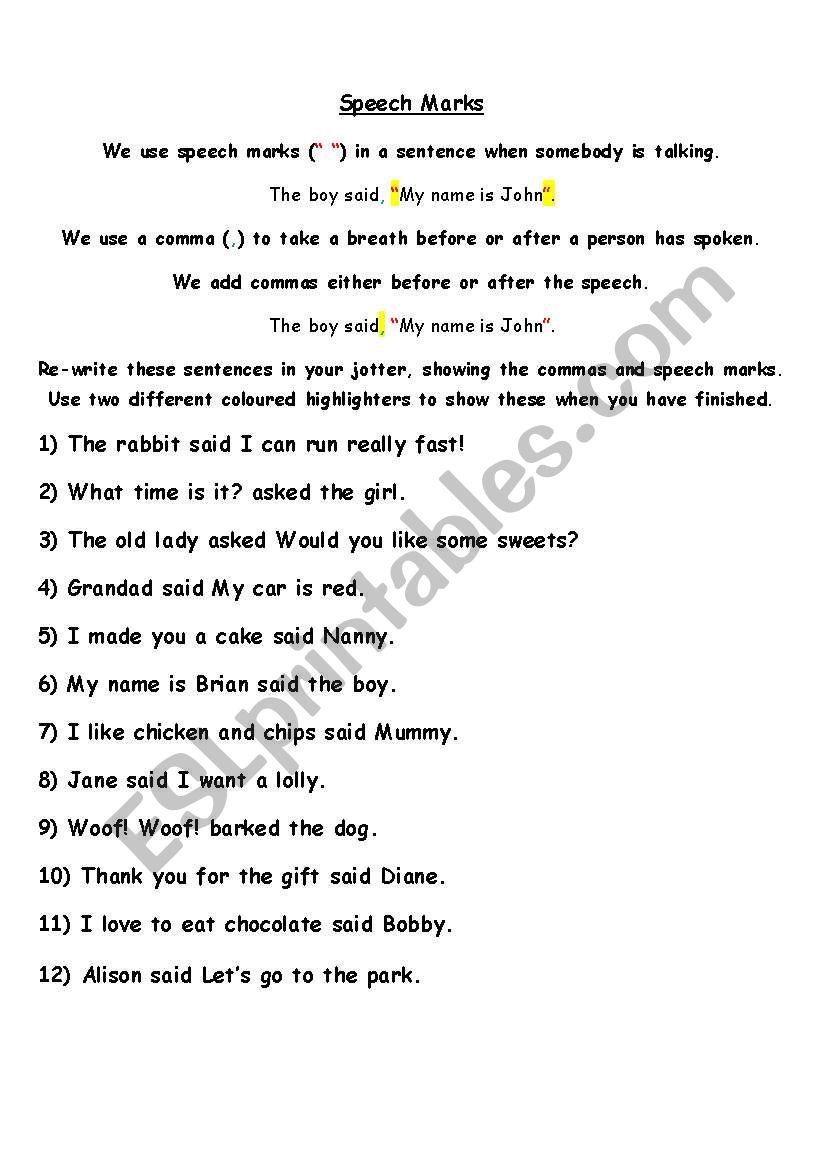 Speech Marks practice worksheet