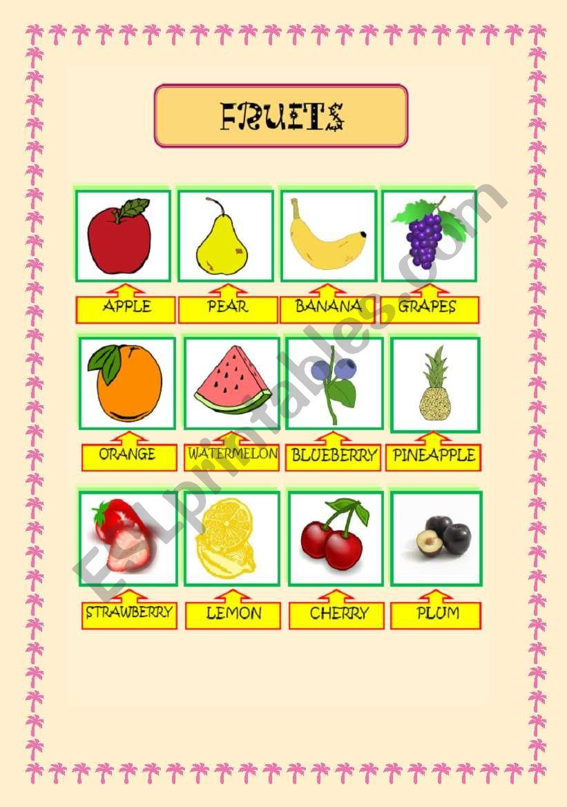 fruits pictionary worksheet