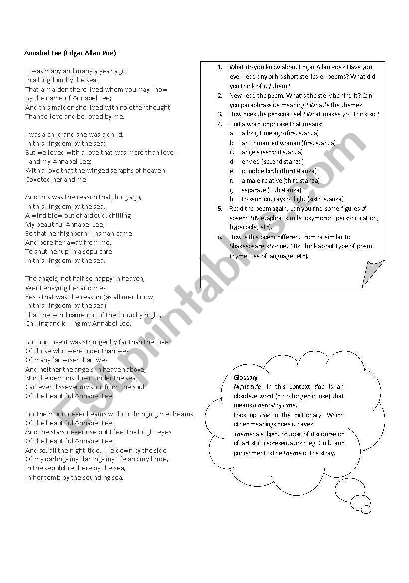 Annabel Lee Activities With The Edgar Allan Poe Poem Esl
