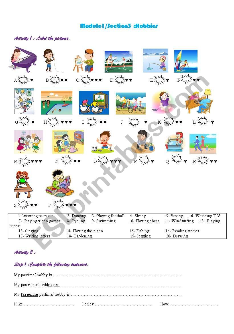 What are your hobbies? worksheet