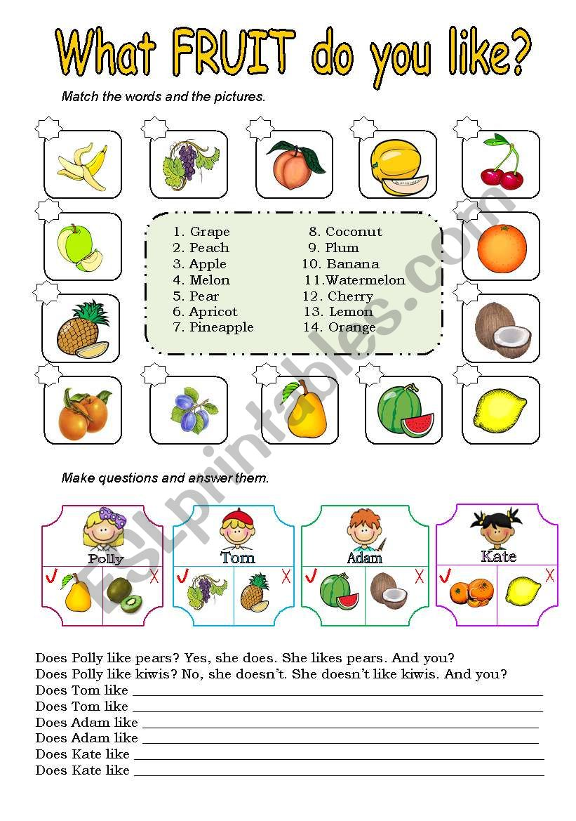 What fruit do you like? worksheet